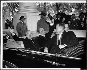 With smiles and a wave, President Harry Truman and his successor, Dwight D. Eisenhower, leave White House in an open car on way to Capitol for inauguration ceremonies. Image: Library of Congress (http://memory.loc.gov/ammem/pihtml/pi049.html)