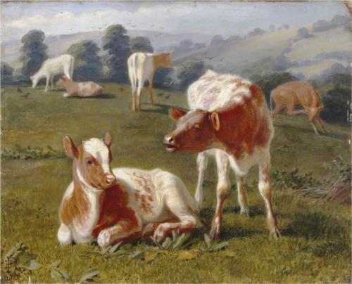 Calves in a Meadiw, Briton Riviere, 1864
