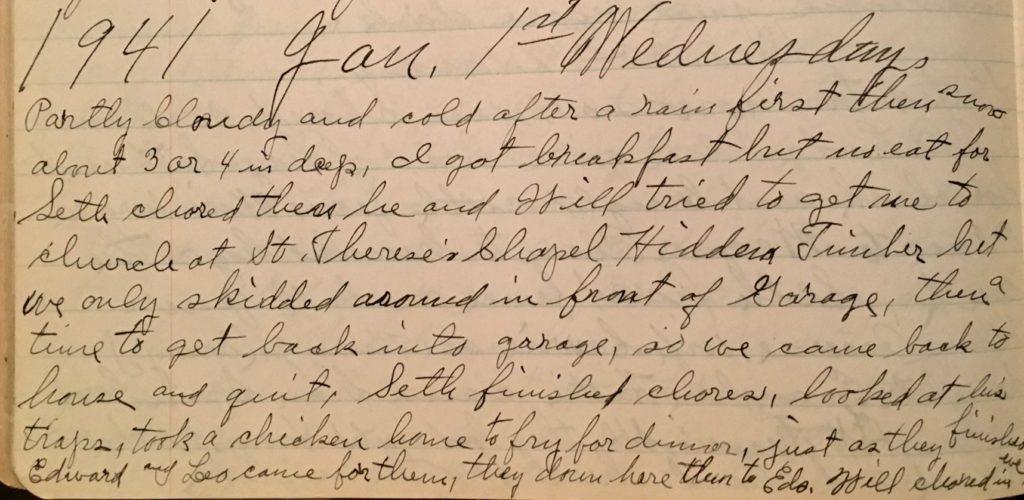 January 1, 1941 diary entry