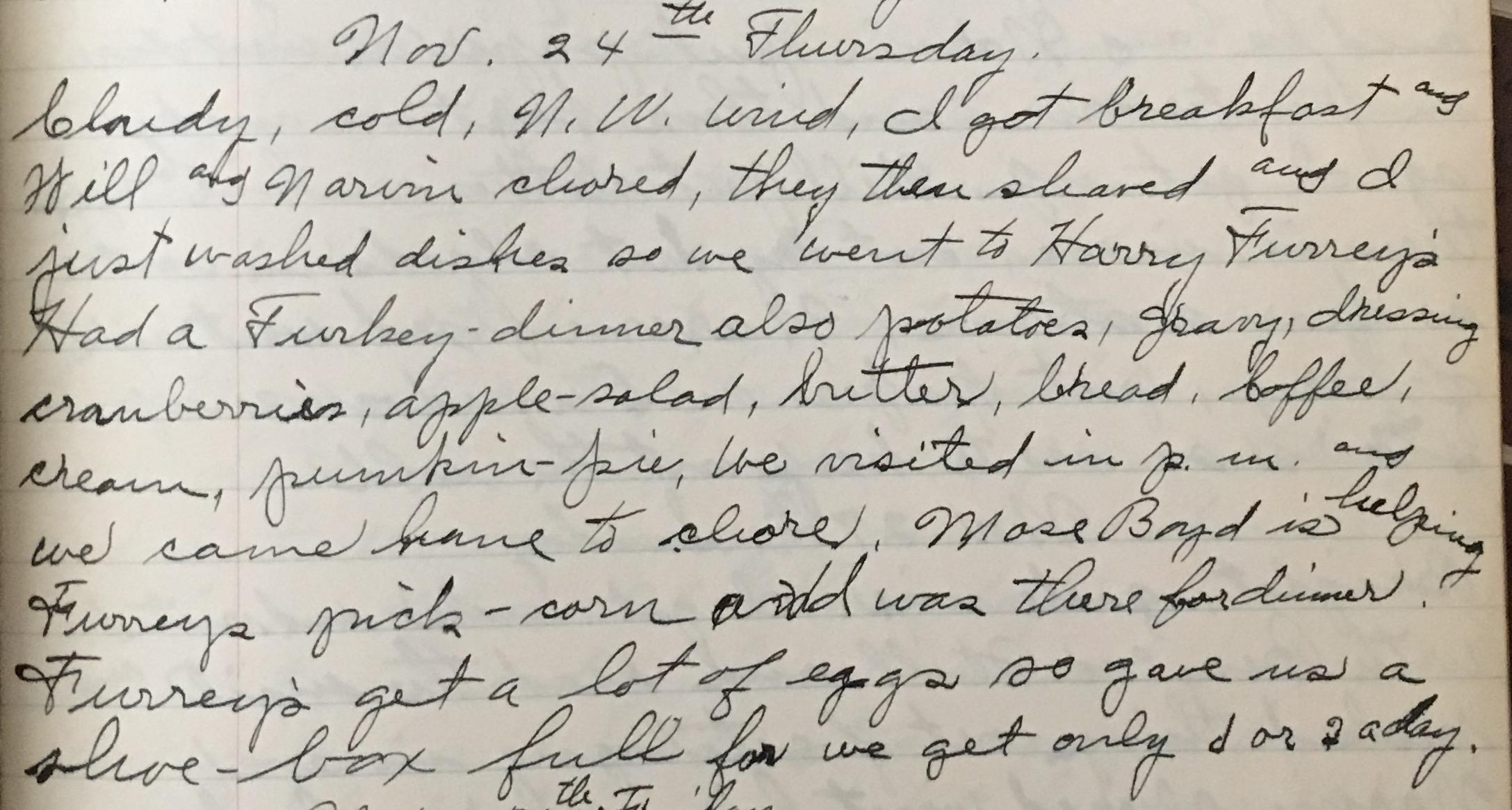 Misc  Diary Entry – Aunt Hattie's Diary